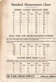 Vintage Ward Stilson Standard Measurement Chart 1950s A