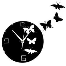 3d diy crystal erfly mirror wall clock acrylic decorative wall sticker home living room decorati