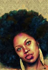 i love painting afro s and erica leshai s afro was begging to be painted