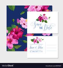 Wedding Invitations Templates Purple Wedding Invitation Template With Hibiscus Flowers Vector Image