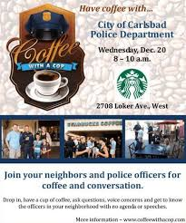 Coffee With A Cop Flyer At Home In Carlsbad Carlsbad Coffee With A Cop