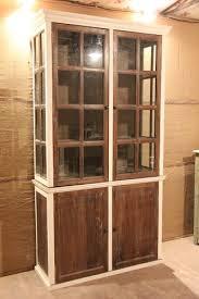 double door brown wooden crockery