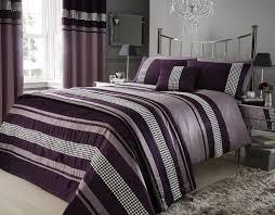 plum purple metallic detail king size duvet quilt cover bed set bedding co uk kitchen home