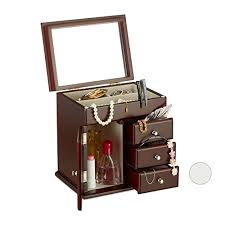relaxdays wooden jewellery box with