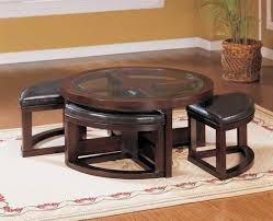Round Coffee Table With Ottoman Seating