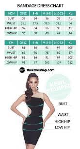 Size Chart Bandage Dresses And Swim Wear The Kewl Shop