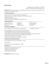 Objective For A Nanny Resume Sample Nanny Resume Without Experience Lovely Objective Of Photo 27