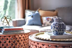 a few years ago in my formal living room i went with the 2 round tribal carved wood tables and loved how versatile it was