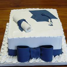 Graduation Cake In Blue With Bow