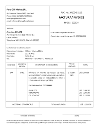 Formato De Factura De Exportacion Modelo De Factura Comercial Commercial Invoice Llenada