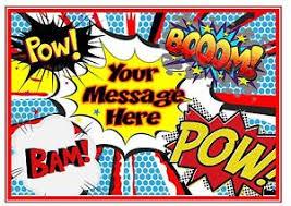superhero sheet cake personalised cake topper edible icing sheet pow pop art action words