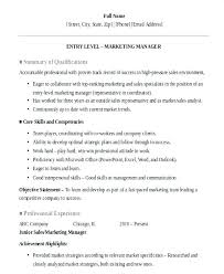 Objective Statement In Resume Entry Level Objective Statement Marketing Resume Examples Entry