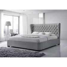 Manchester King-Size Tufted Wing Upholstered Grey Platform Bed ...