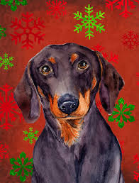 dachshund red and green snowflakes holiday flag garden