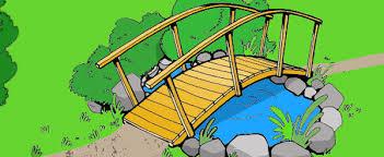 wooden arched garden bridge