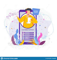 Technical Support Questions Hotline Operator Advises Client Man In The Call Center Stock Vector