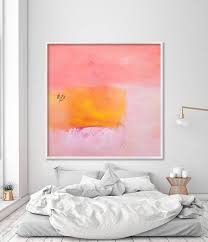 modern print of abstract painting coral pink yellow canvas large wall art nursery decor bedroom  on large wall art for bedroom with modern print of abstract painting coral pink yellow canvas large