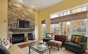 Open Stone Fireplace Living Room Welcoming Wood Ceiling Of Family Room With Sliding
