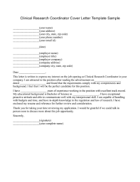 Clinical Research Coordinator Cover Letter Resume Cover Letter
