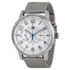 tommy hilfiger watches jomashop tommy hilfiger multi function white dial stainless steel mesh men s watch