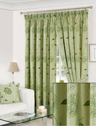 pavilion carnation green lined pencil pleat curtains 170cm wide