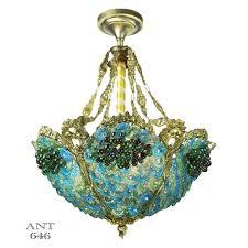 top 54 prime ori ant glass marble bowl chandelier ceiling light lighting fixture blue antique bohemian