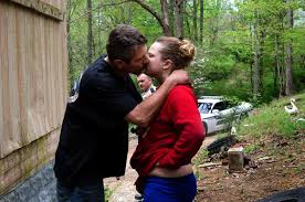photo essay chasing meth in laurel county kentucky mother jones teresa hall kisses her boyfriend steven simpson after being found at an abandoned trailer meth related paraphernalia