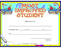 Most Improved Student Certificates Student Awards Award