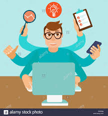 home office multitasking. self employment concept in flat style multitasking man working on different projects from his home office