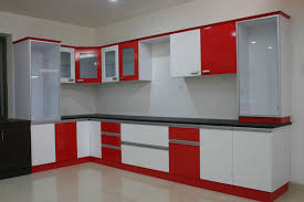 witching home office interior. Fair Design Ideas Of Modular Kitchen With Grey Color Gloss Witching L Shape And White Red Office Home Interior