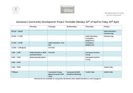 Weekly Timetable 25 04 2016 29 04 2016 Garryowen Community