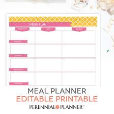 Menu Planning Template Printable Menu Plan Weekly Meal Planning Template Printable Editable Pdf Breakfast Lunch Dinner Planner