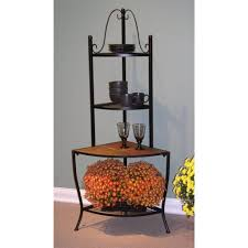 Furniture Country Style Cast Iron Corner Bakers Rack With Shelf Country Style Shelves