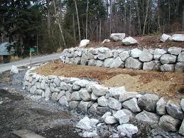 multi level terraced rock wall construction