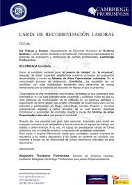 Ejemplo De Cartas De Recomendacion Laborales