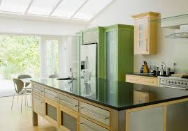 A Kitchen in Green and Yellow Colors. Green feng shui kitchen