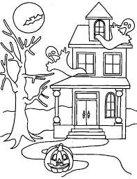 Small Picture Haunted House on Halloween Day Coloring Page Download Print