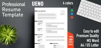 Free Professional Resume Templates Impressive Ueno Professional Resume Template
