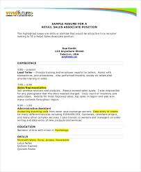 Retail Sales Resume Examples Salesperson Resume Template Resume Template For Sales Salesman