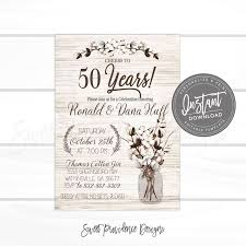 50th Anniversary Party Invitations 50th Anniversary Invitation Anniversary Party Invitation Rustic Anniversary Invitation Editable Invite Instant Download