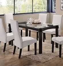 kings brand rectangle cappuccino finish wood with gl dining kitchen dinette table