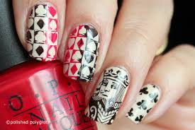 Nail Art │ Cards game desing in Red & Black [Nail Crazies Unite ...