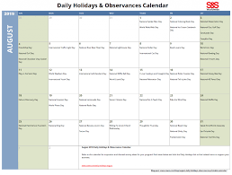 Daily Picture Calendar August Daily Holidays Observances Printable Calendar S S