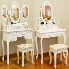 details about white dressing table vanity makeup desk with 4 or 7 drawers mirror and stool