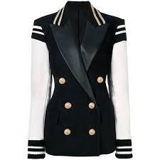 high quality newest fashion 2019 designer blazer women s leather patchwork double ted blazer classic varsity jacket