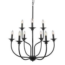 9 light black chandelier