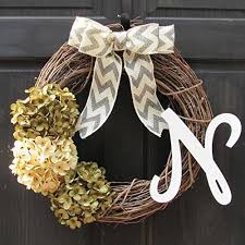 initial wreaths for front doorAmazoncom Year Round Monogram Initial Wreath for Personalized