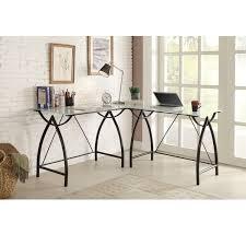 l shaped black frosted glass metal corner desk