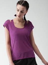 nike women purple solid semi sheer as w nk brthe top ss cool top