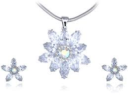 loading zoom clear sharpened snowflake chill swarovski crystal element earring necklace set
